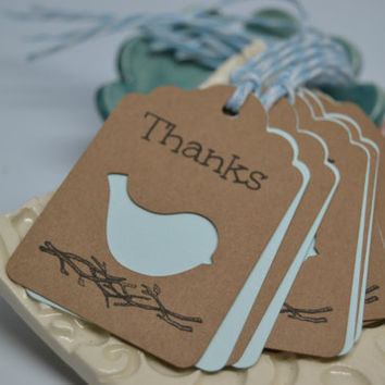 Blue Bird Thank You Tags / Rustic Favor Tags / Shower Tags / Birthday Tags