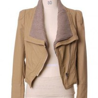 Brown Jacket - Faux Leather Biker Jacket in | UsTrendy