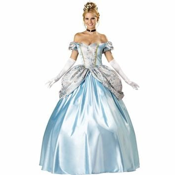 VASHEJIANG Kigurumi Adult womens Blue Halloween Party Princess Costume Adult Cinderella Cosplay Dress Deluxe Snow White Costume