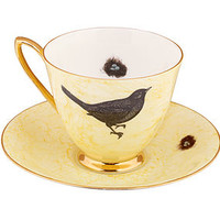 Vintage Bird Design Tea Cup And Saucer