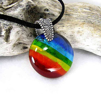 Rainbow Pet Memorial Pendants with Ashes, Glass and Pewter