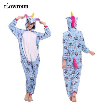 Halloween Adult Kigurumi Anime Women Costumes Cosplay Cartoon Animal Sleepwear Stitch Unicorn  Winter Warm Hooded 2018Kawaii Pokemon go  AT_89_9