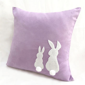 Two Little Lovely Rabbits Lilac Pillow Cover. 16inch Bunny Lavender Cushion Cover. Pom Pom Appliques. Baby Girl Room Decor