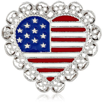 1928 Jewelry Made in America Scalloped Heart USA Flag Pin