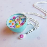 bowl of froot loops cereal polymer clay necklace