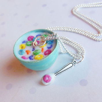 bowl of froot loops cereal polymer clay by ScrumptiousDoodle