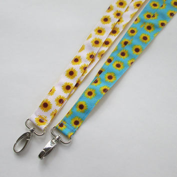 Reversible Flower Lanyard Keychains for Women, Cool Lanyards for Keys, Id Badge Holder Necklace Lanyards, Cute Lanyards for Badges