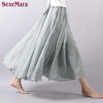 DCCKFV3 High Quality 2016 Summer New Vintage Bohemia Cotton Linen Pleated Women Boho Floor-Length Long Maxi Tulle Beach Skirt