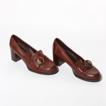 Brown Buckled Oxford Heels / Size 8