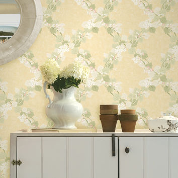 Brewster Delphia Jasmine Trellis Wallpaper - Yellow