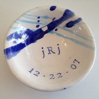 Personalized Monogram Wedding Ring Dish - Customized Ceramic Bowl
