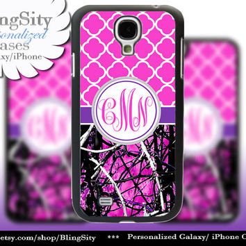 Monogram Galaxy S4 case S5 Real Tree Camo Purple Hot Pink Muddy Personalized Samsung Galaxy S3 Case Note 2 3 Cover Country Girl