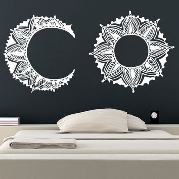 Sun and Moon Wall Decal Stickers Night Boho Ethnic Vinyl Decor Dual Symbol SM172