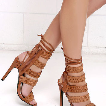 Plaza Performance Tan Caged Lace-Up Heels