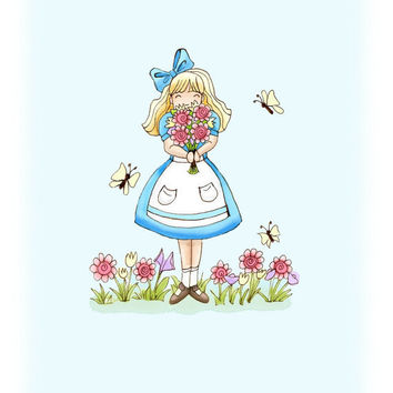 Alice in Wonderland Print 8x10 Sky Blue Girls by wonderlaneart