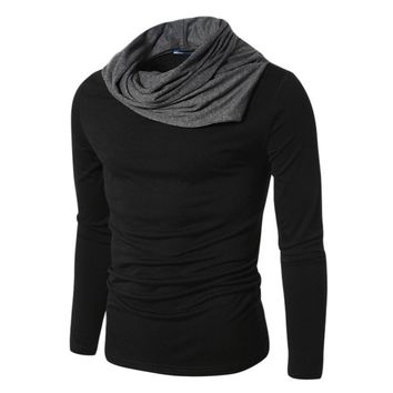 Lisli Brand Clothes Mens Long Sleeve Pullovers Turtle Neck T Shirt Men Novelty Tshirt Full Sleeves Clothes Black Gray 01S0199