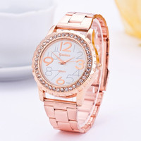 Women's Rhinestone Bling Rose Gold-Tone Plated Classic Round CZ Watch