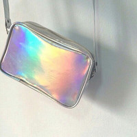 Silver Holographic Cross Body Bag Hologram Purse Pouch Messenger Handbag Party Travel Shoulder Bag