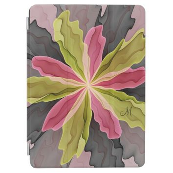 Joy, Pink Green Anthracite Flower Fractal Monogram iPad Pro Cover