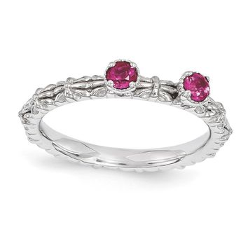 Sterling Silver Stackable Created Ruby Round Two Stone Ring