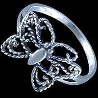 Silver ring, butterfly