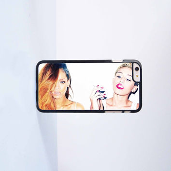Miley Cyrus and Rihanna Plastic Case Cover for Apple iPhone 6 Plus 4 4s 5 5s 5c 6