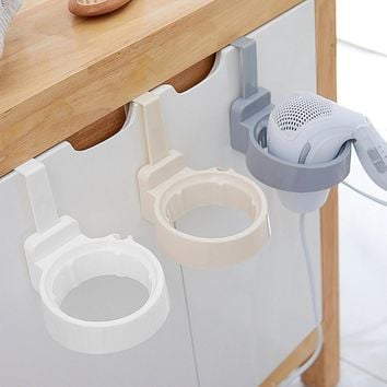 Bathroom Hair Dryer Stand Organizer shelf Storage Hairdryer Rack Holder Door Hook Ring Plastic For Home Hotel Dormitory 2017