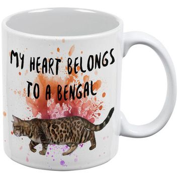 LMFCY8 My Heart Belongs Bengal Cat White All Over Coffee Mug