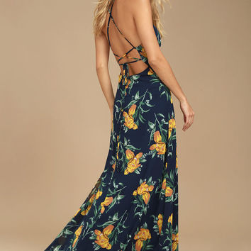 Adventure Seeker Navy Blue and Yellow Floral Print Maxi Dress