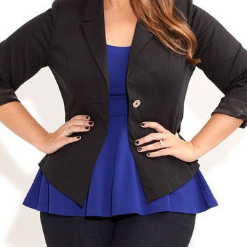 Plus Size Lapel Neck Blazer