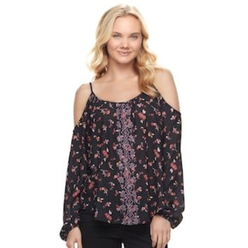 Juniors' Rewind Embroidered Cold Shoulder Top | null
