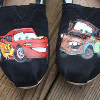 Cars Lightning McQueen and Mater Original Custom Acrylic Painting for Toms Shoes
