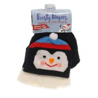 Apparel FINGERLESS POP-TOP MITTEN GLOVE Childs Stretches To Fit Xfglv Penguin
