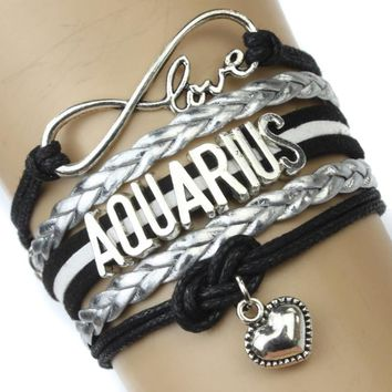 Infinity Love Aquarius Heart Charm Bracelet Twelve Constellations The Signs of the Zodiac Bracelet Black Silver
