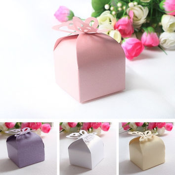 New 100pcs Lovely Butterfly Pattern Elegant Pearl Paper Wedding Party Favor Gift Candy Box = 1932707716