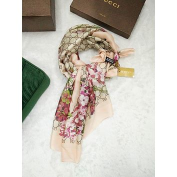 GUCCI Fashion Women Easy to match Silk Scarf B
