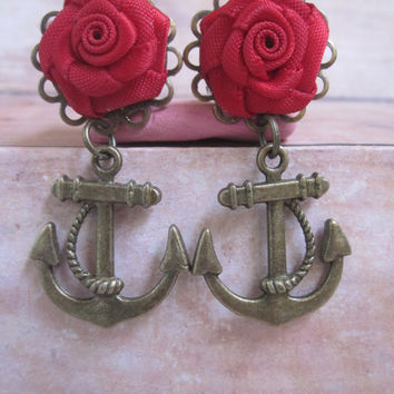 "Pair of Red Satin Rosette Plugs with Anchor Nautical Charms - Handmade Girly Gauges - 0g, 00g, 7/16"", 1/2"". 9/16"", 5/8"", 3/4"""