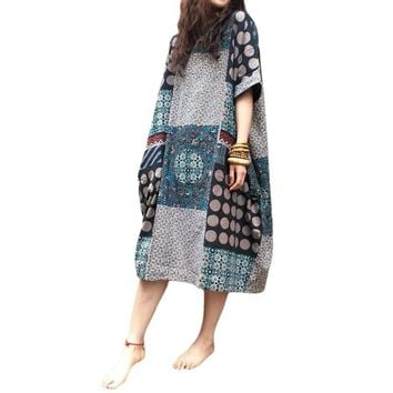 ZANZEA Vintage Womens Random Floral Print Summer Short Sleeve Baggy Long Mid Calf Cotton Linen Dress Casual Loose Kaftan