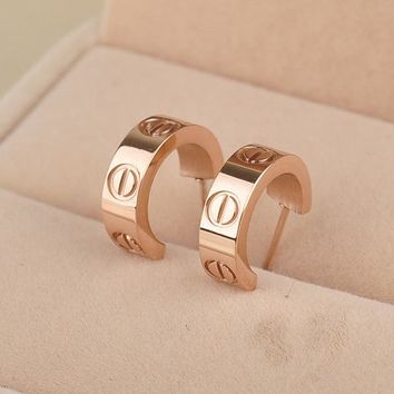 Stylish Accessory Strong Character Titanium Simple Design Earrings [11337092679]