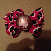 Panic at the disco hair bow pink leopard print