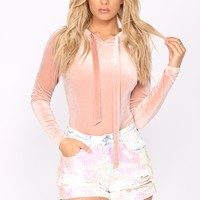 Can't Be With You Velvet Bodysuit - Blush