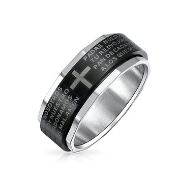 Padre Nuestro Lord Pray Cross Black Spinner Band Ring Stainless Steel