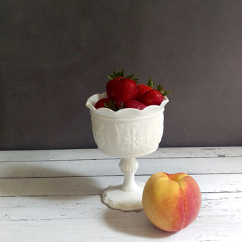 Milk Glass Compote/ Indiana Milk Glass/ Milk Glass fruit bowl/ Vintage Pedestal Bowl/ Wedding Centerpiece/ Milk Glass Vase/ Shabby Chic