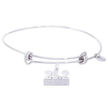 Sterling Silver Balanced Bangle Bracelet With Marathon 26.2 W/Diamond Charm