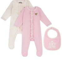 Baby 3Pc Suits In 2 Colors With Bib Into 1 Set by Juicy Couture