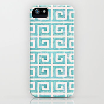 Greek Key Distressed Shabby Beach Cottage Pattern iPhone & iPod Case by Audrey Jeannes