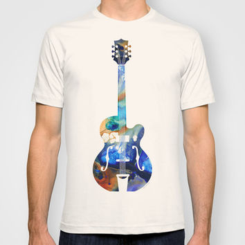 Vintage Guitar - Colorful Abstract Musical Instrument T-shirt by Sharon Cummings