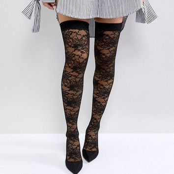 ASOS KACEY Lace Over The Knee Boots at asos.com