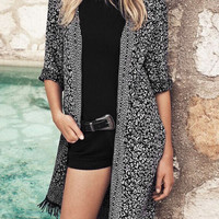 Black Floral Print Fringed Long Cover-up