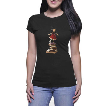 Gorjuss on Books  Womens T Shirts Black And White